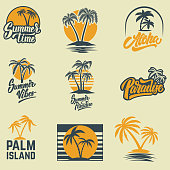 Set of summer emblems with palms. For emblem, sign,  label, badge. Vector image