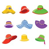 Set of summer hats for women isolated on white background. Flat style icons of sun hats. Vector illustration in eps8 format.