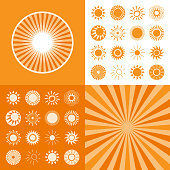 Set of sun icons for computing web and app.
