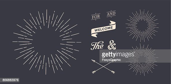 Set of sunburst, vintage graphic elements : Vector Art
