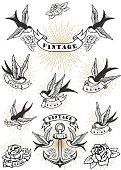 Set of swallow tattoo. Vintage anchor and roses. Design element for label, emblem, sign. Vector illustration