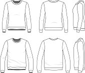 Front, back and side views of clothing set. Blank vector templates of male and female sweatshirts. Fashion illustration. Line art design.