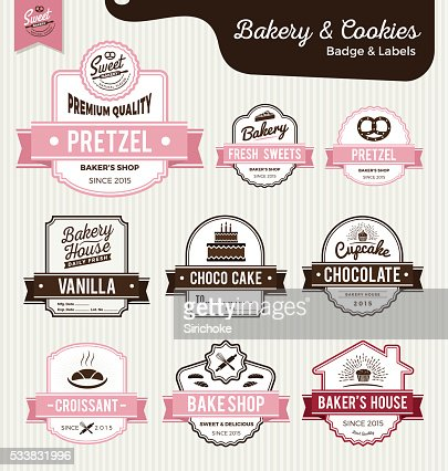 Set of sweet bakery and bread labels design : stock vector