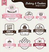 Set of sweet bakery and bread labels design for sweets shop, bakery shop, cake shop, restaurant, bake shop. Vector illustration.