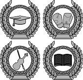 set of symbols of achievement. fourth variant. vector illustration