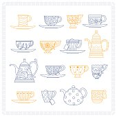 Set of different teacups and teapots in blue and yellow colors on white background with frame