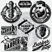 Set of templates for barbershop. Barbershop icons, vector illustration.