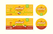 Set of templates label for peanut butter. Illustration with elements in handmade graphics and seamless pattern