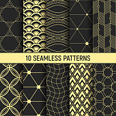 Set of ten gold seamless patterns. Abstract geometrical trendy vector backgrounds. Linear style. Fashion design. Modern stylish textures with triangles, waves, lines, curved lines, stripes, rhombuses.