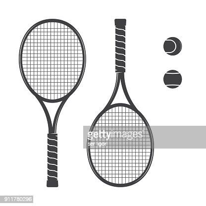 Set of tennis rackets and tennis balls : stock vector