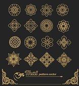 set of thai art design, flower design.vector illustration