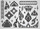 Set of Thai art element, Decorative motifs. Ethnic Art, icon vector