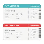 Set of the airline boarding pass tickets. Isolated on white background. Vector flat design