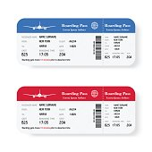 Set of the airline boarding pass tickets with shadow. Isolated on white background. Vector illustration