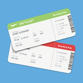 Set of the airline boarding pass tickets with shadow. Isolated on blue background. Vector flat design