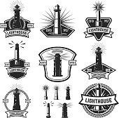 Set of the badges with lighthouses. Design elements for label, emblem, poster, t-shirt. Vector illustration.