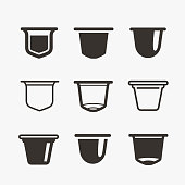 Set of the coffee capsules. Vector flat icons