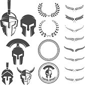 Set of the emblems templates with helmet. Spartan warrior helmets with laurel wreaths. Design elements for  label, emblem, sign. Vector illustration.