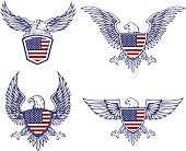 Set of the emblems with eagles on usa flag background. Design elements for label, emblem, sign. Vector illustration