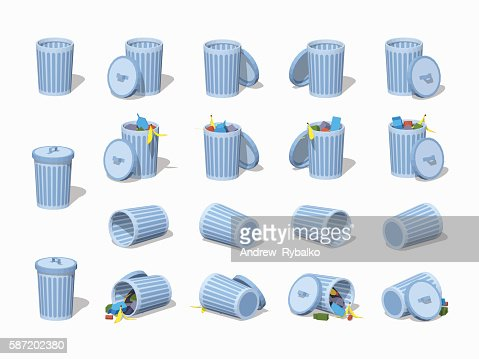 Set of the low poly trash cans : stock vector