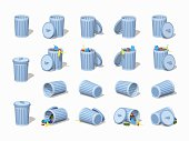 Set of the trash cans. 3D lowpoly isometric vector illustration. The set of objects isolated against the white background and shown from different sides