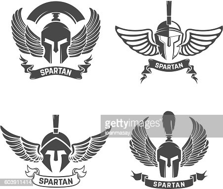 Set of the spartan helmets with wings. Design elements for : stock vector