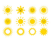 Set of the suns. Cute suns. Yellow faces. Emoji. Summer emoticons. Vector illustration isoalted on white background.
