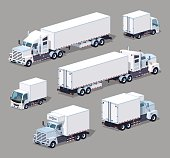 Set of the white trucks. 3D lowpoly isometric vector illustration. The set of objects isolated against the grey background and shown from two sides