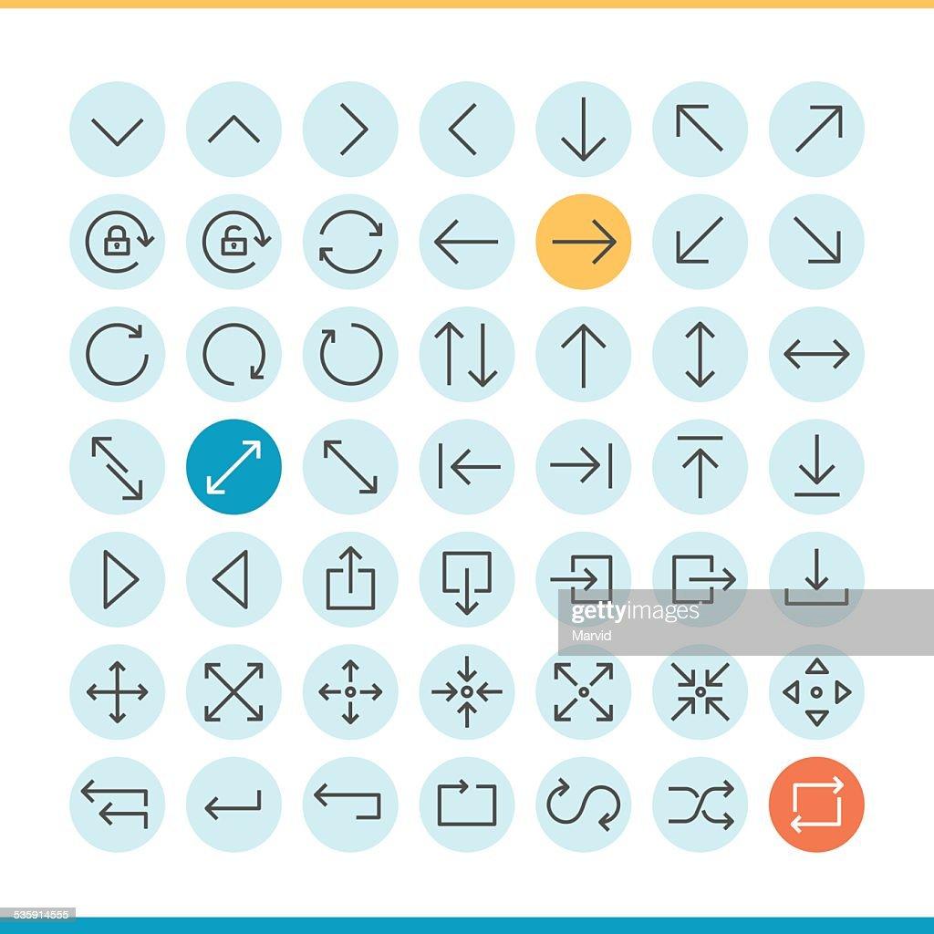Conjunto de linha fina ícones de setas : Arte vetorial