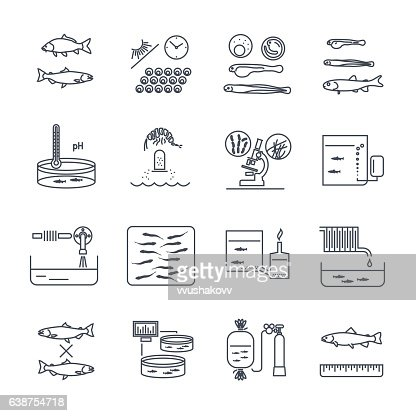 set of thin line icons aquaculture production process : stock vector
