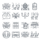 set of thin line icons cockpit airplane, ship, cabin interior