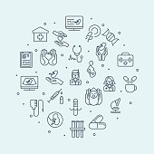 Set of thin line icons in the circle. Medicine and healthcare. Diagnostic of pregnant woman, newborn. Doctors with stethoscope. Medical equipment and medicine. Vector illustration can be used for back