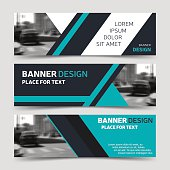 Set of three blue horizontal business banner templates. Vector corporate identity design, modern abstract background layout, eps10
