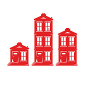 set of three houses different number of floors