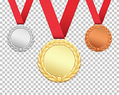 Set of three medals. Gold, silver, bronze medallions Vector illustration