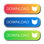 Set of three modern gradient buttons with shadows. Download Buttons. Vector illustration