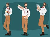 Set of three fun and mustachioed hipster bartenders with suspenders and bow tie, shakes the contents into the shaker, pours out of the bottle drink, offers cocktail