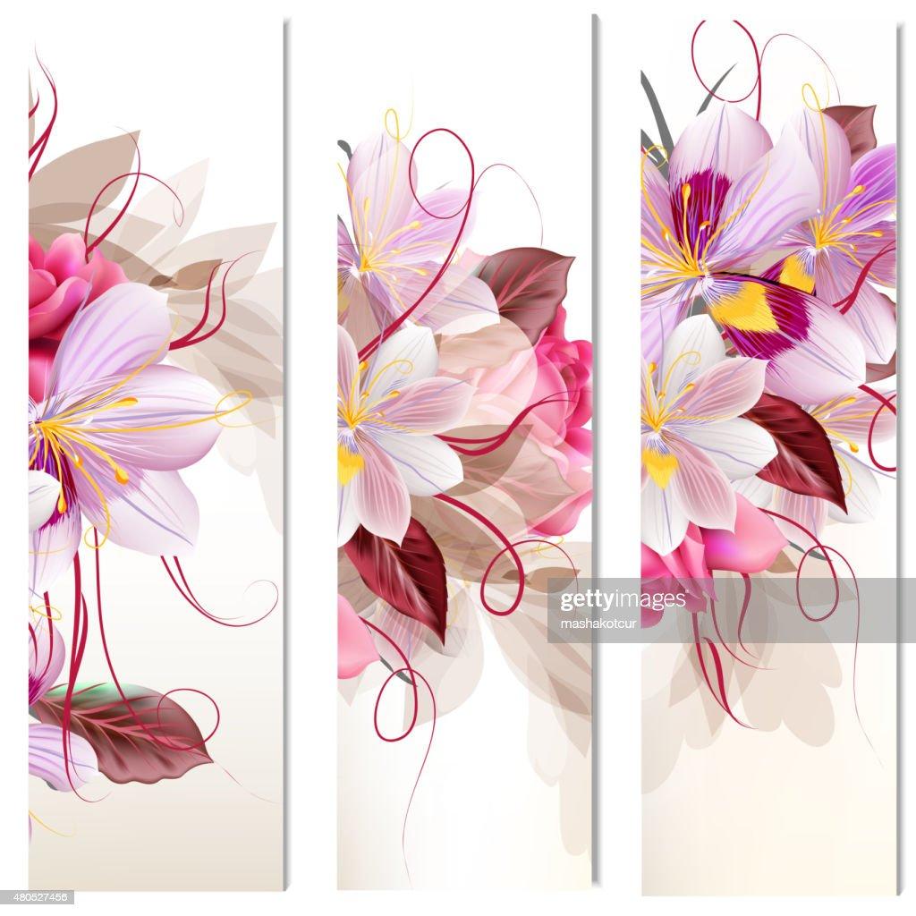 一連の 3 つの垂直花のバナーのデザイン : ベクトルアート