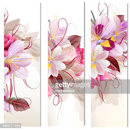 Set of three vertical floral banners for your design : Vector Art