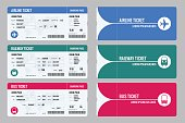Set of tickets airplane, bus and train. Travel around the world and countries. Recreation and entertainment. Business trip. Vector isometric illustration. Isolated on white background. Vector design.