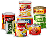 Set of tin food illustration
