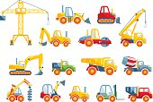 Different kind of toys heavy equipment and machinery isolated on white background. Vector illustration.