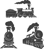 Set of trains icons isolated on white background. Design elements for logo, label, emblem, sign, brand mark. Vector illustration.