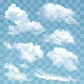 Set of transparent different clouds vector illustration. Air weather nature cloud isolated. Summer nature sky design climate smoke cloud isolated atmospheric environment cumulus meteorology sign.
