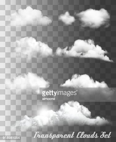Set of transparent different clouds. Vector. : Vector Art