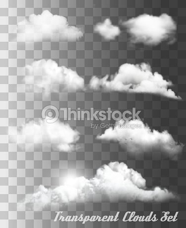 Set of transparent different clouds. Vector. : stock vector