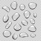 Set of transparent drops of different shapes. Realistic pure water drops vector. Illustration for any background.