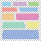 Set of transparent different colors sticky banners, realistic tape pieces, vector illustration.