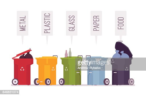 Set of trash bins with metal, plastic, glass, paper, food : stock vector