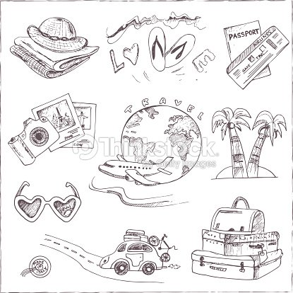 set of travel drawings sketches handdrawing vector art thinkstock